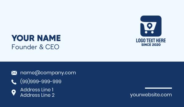 goods - Shopping Cart Location Tag App Business card horizontal design