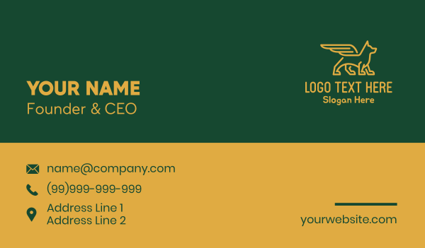 animal welfare - Gold Winged Wolf Dog Business card horizontal design
