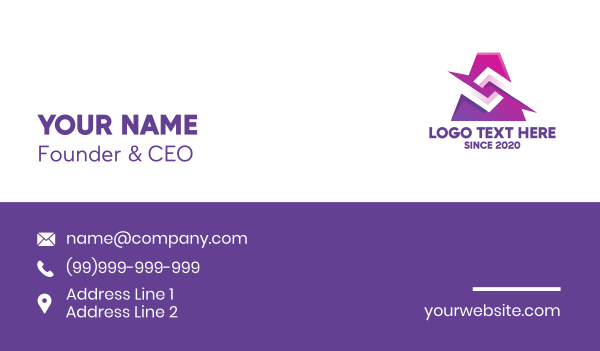 abstract design - Artistic Purple Graphic Business card horizontal design