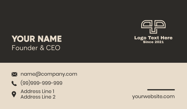 White Stripe Letter P & P Business Card