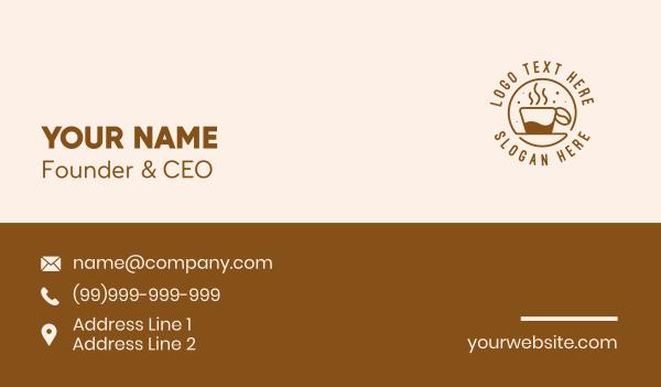 steam - Circle Coffee Bean Cafe Business card horizontal design