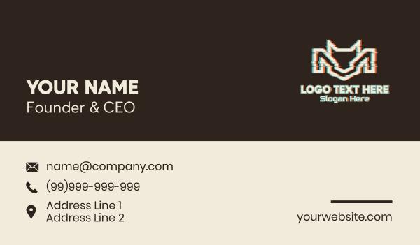 glitchy - Glitch Animal Letter M Business card horizontal design