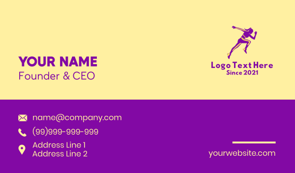 track and field - Athletic Woman Jumping Business card horizontal design