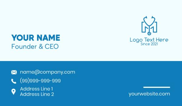 medical care - Blue Stethoscope Letter M Business card horizontal design