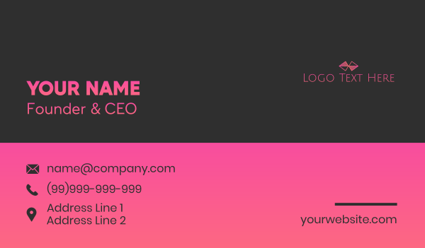 clothing line - Pink Bowtie Wordmark Business card horizontal design