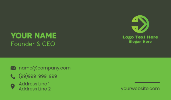 traffic sign - Green Arrow Right Business card horizontal design