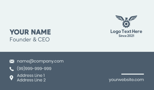 civil engineer - Bird Wing Gear Business card horizontal design