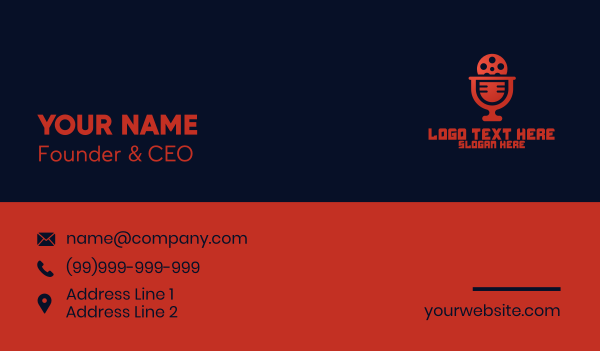 recording - Microphone Film Video Podcast Business card horizontal design