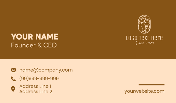 brewed - Rural Coffee Farm Business card horizontal design
