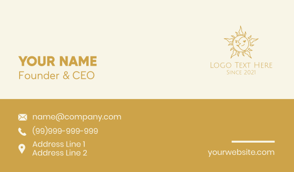 heavenly bodies - Merged Moon and Sun  Business card horizontal design