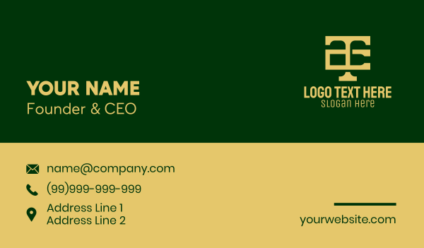 legal services - Corporate T & C Monogram Business card horizontal design