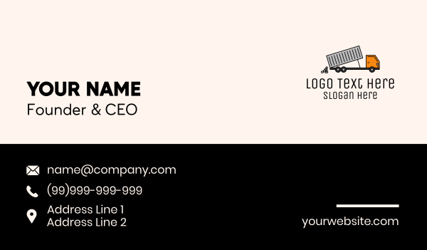 garbage truck - Dump Truck Transport Business card horizontal design