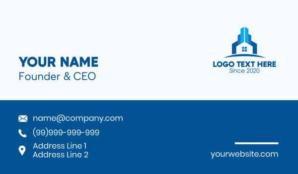 home lease - Blue Home Property Business card horizontal design