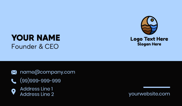 waves - Ocean Waves Bean  Business card horizontal design