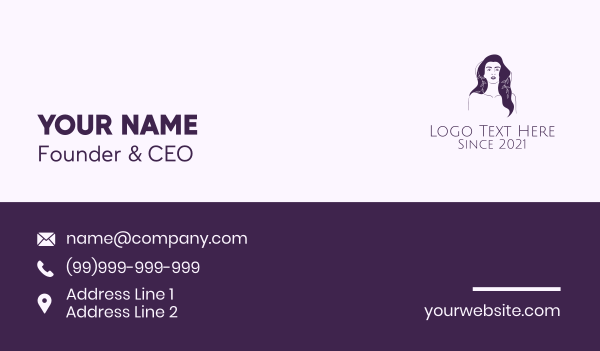 beauty vlogger - Purple Purple Woman Business card horizontal design