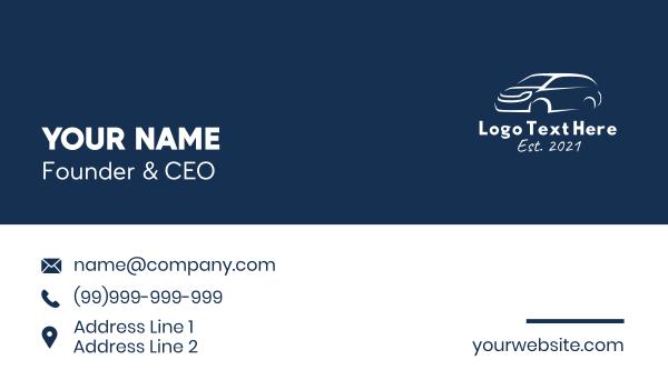 suv - White Van Car  Business card horizontal design