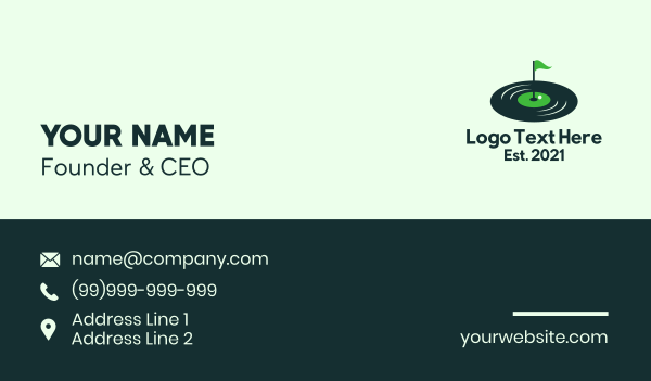 golf competition - Vinyl Golf Course Business card horizontal design