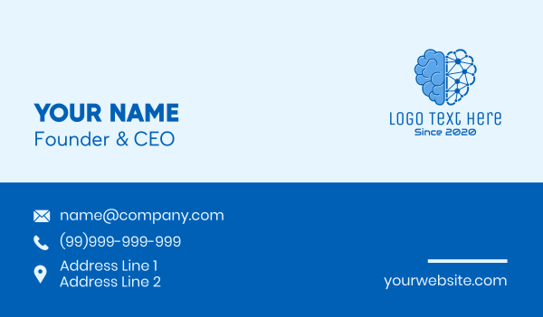 robotic - Artificial Intelligence Software Business card horizontal design