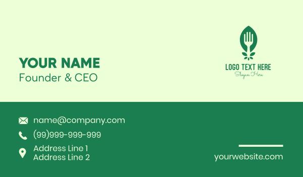 kitchen utensil - Green Salad Leaf Fork Business card horizontal design