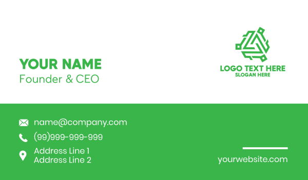 green triangle - Tech Green Monogram Business card horizontal design
