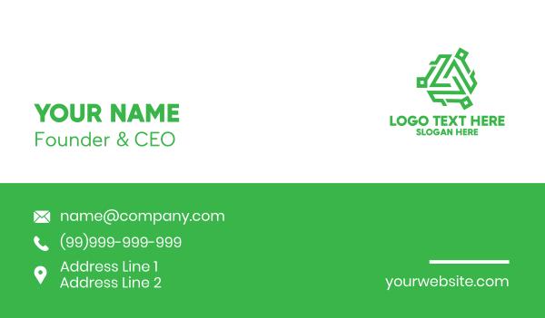 connectivity - Tech Green Monogram Business card horizontal design