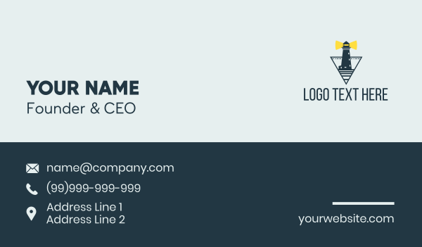 tourist destination - Ocean Light House  Business card horizontal design