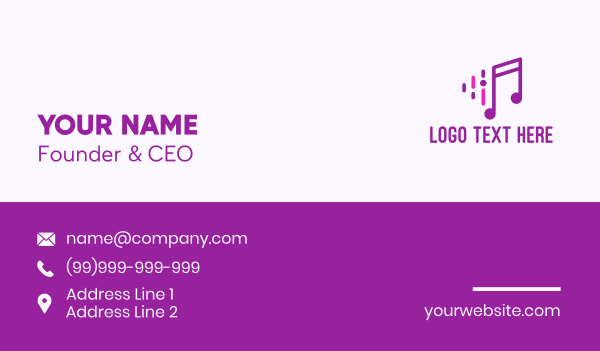 Purple Music Note Business Card