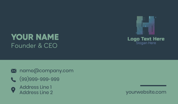 glitchy - Modern Glitch Letter H Business card horizontal design