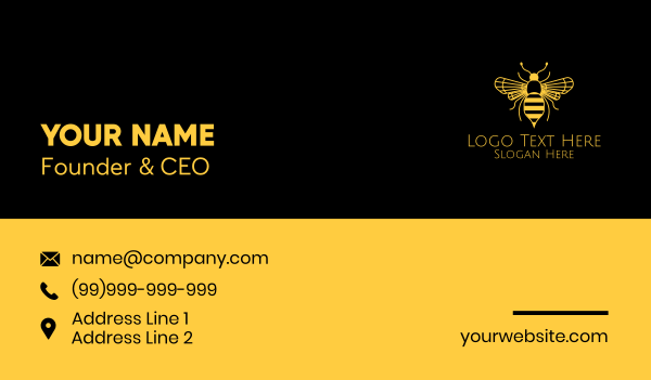 beekeeper - Yellow Honeybee  Business card horizontal design