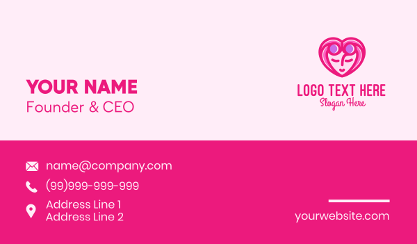 beauty  salon - Pink Beautiful Woman Heart Business card horizontal design