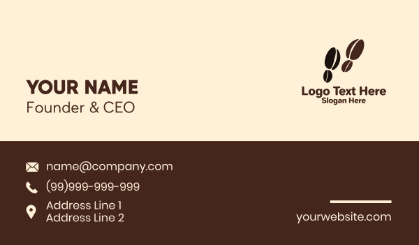 mocha - Coffee Bean Footsteps Business card horizontal design
