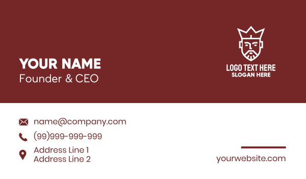 highness - Crown King Head Business card horizontal design