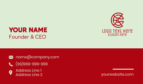 it company - Digital Letter C Pie Business card horizontal design