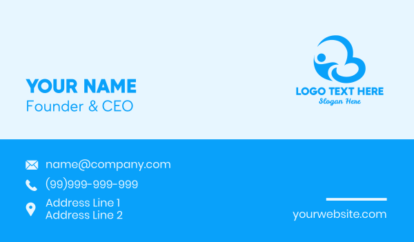 computer science - Blue Flying Man Business card horizontal design