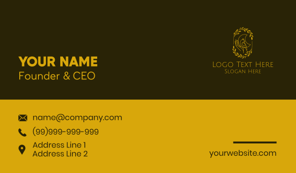 cockatoo - Golden Yellow Bird Business card horizontal design