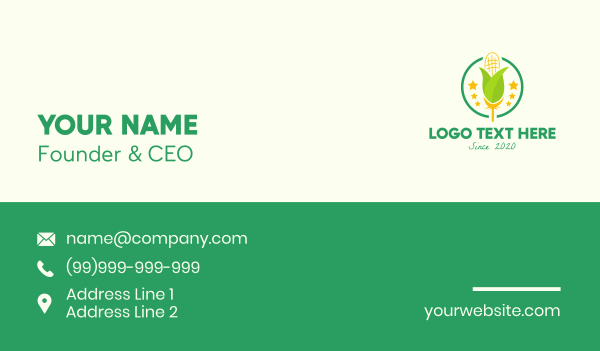 harvesting - Organic Corn Farm Business card horizontal design