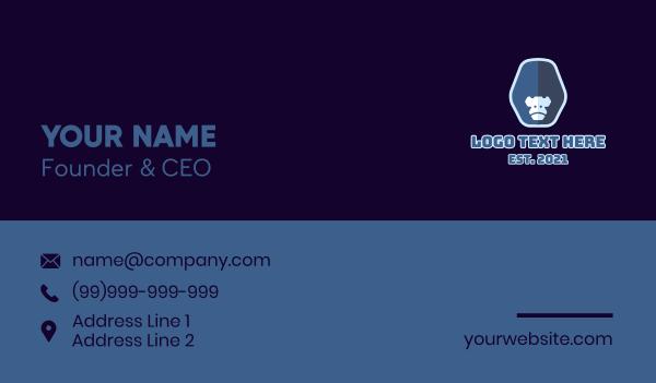 ape - Blue Gorilla Mascot  Business card horizontal design