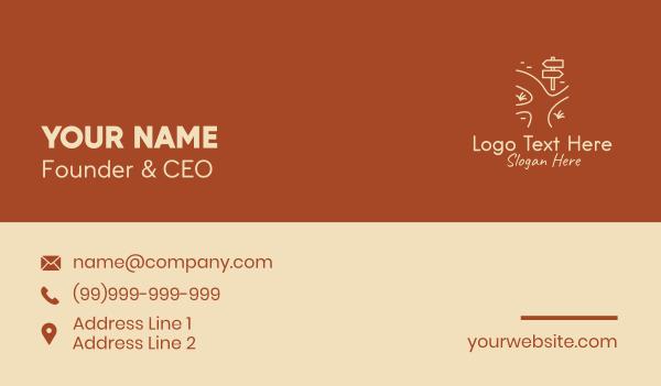 beige - Minimalist Road Sign  Business card horizontal design