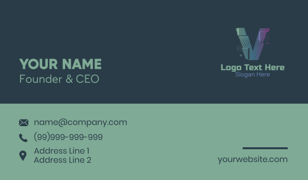 static - Modern Glitch Letter V Business card horizontal design