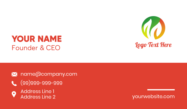 living - Round Green Orange Leaves Business card horizontal design