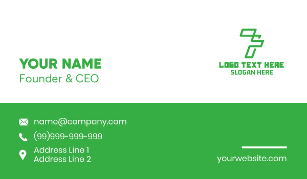 seven - Futuristic Number 7 Outline Business card horizontal design