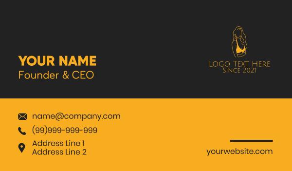 lingerie - Golden Woman Swimsuit  Business card horizontal design