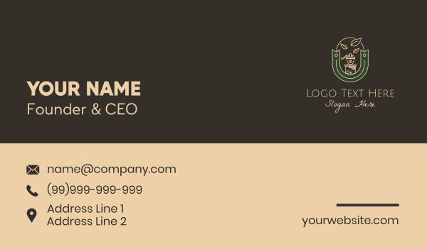 coffee bar - Coffee Grinder Emblem Business card horizontal design