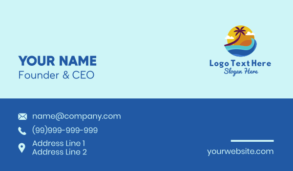 waves - Tropical Waves Vacation Business card horizontal design