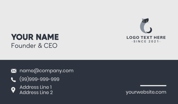 pussycat - Cat Letter C Business card horizontal design