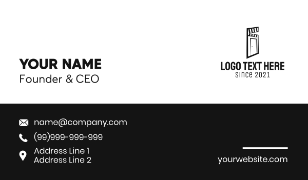 video streaming - Black Door Clapper  Business card horizontal design