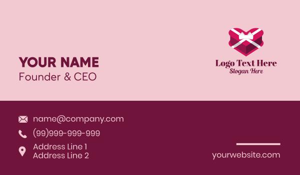 bonus - Heart Gift Box  Business card horizontal design
