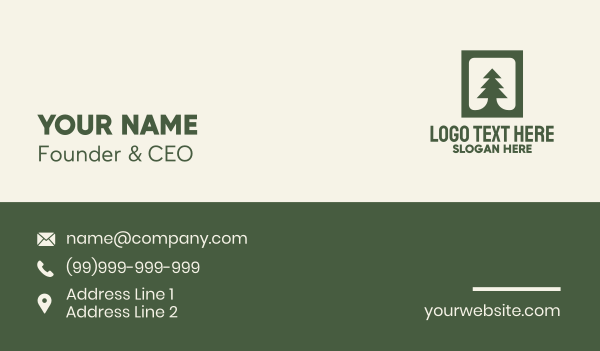 conifer - Green Pine Tree Business card horizontal design