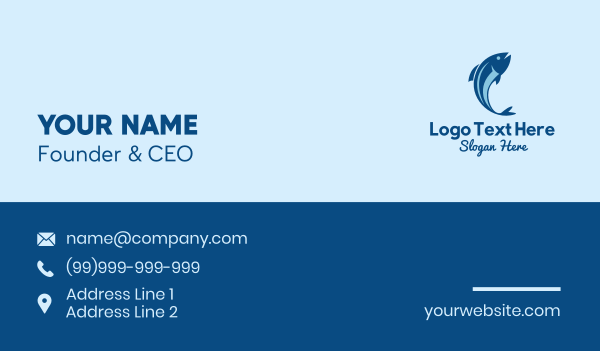 tuna - Blue Tuna Fish  Business card horizontal design