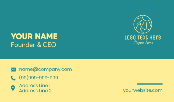 beach resort - Yellow Sun Wave  Business card horizontal design